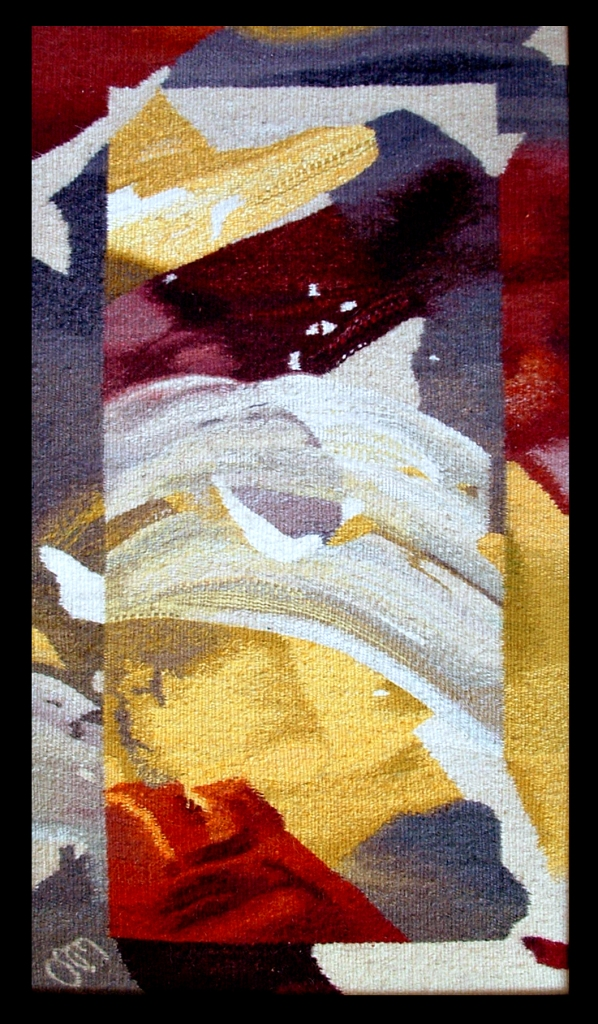 "Composition in the Frame Wool, Cotton, - 25,5 x 15"" - 2002"