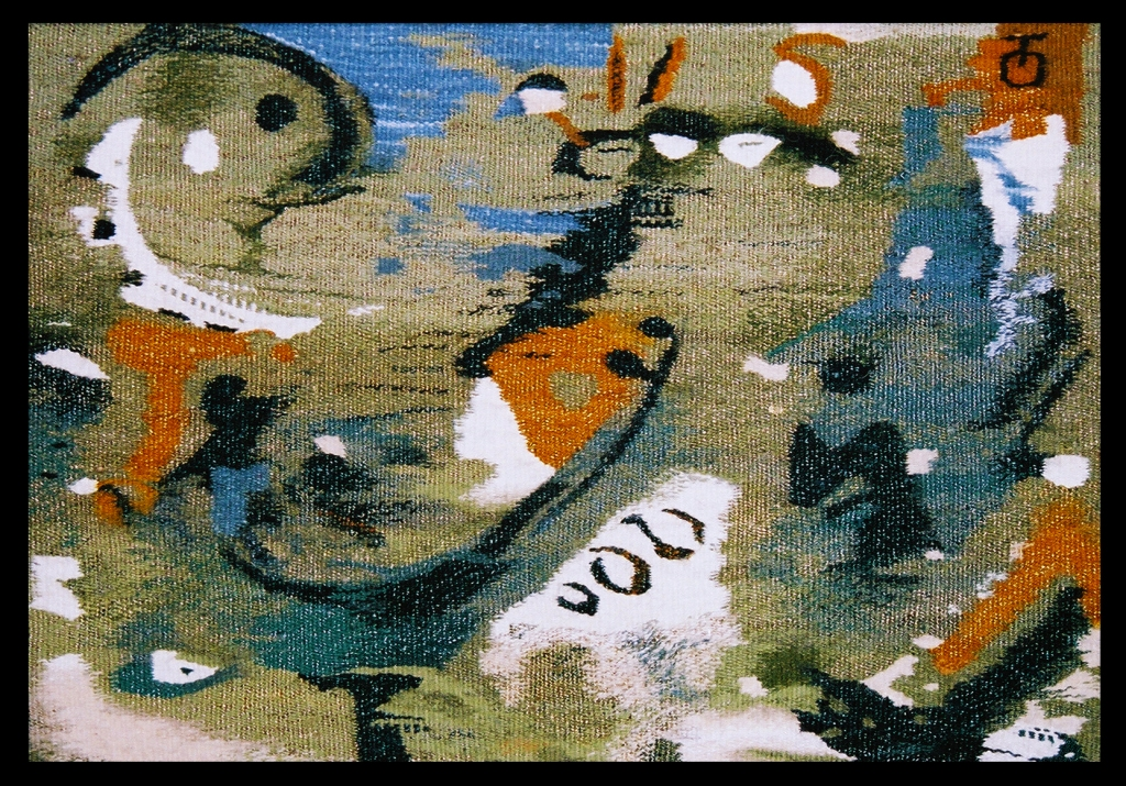 "Green Bird Wool, Acrylic, Cotton, Caprone - 16"" x 22,5"" - 2003"