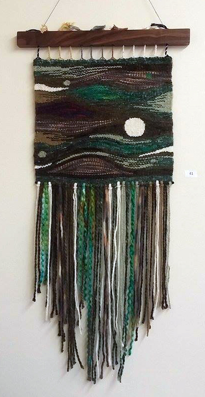 "Mysterious Night Wool, Acrylic on cotton warp - 32"" X 16"" - 2016"